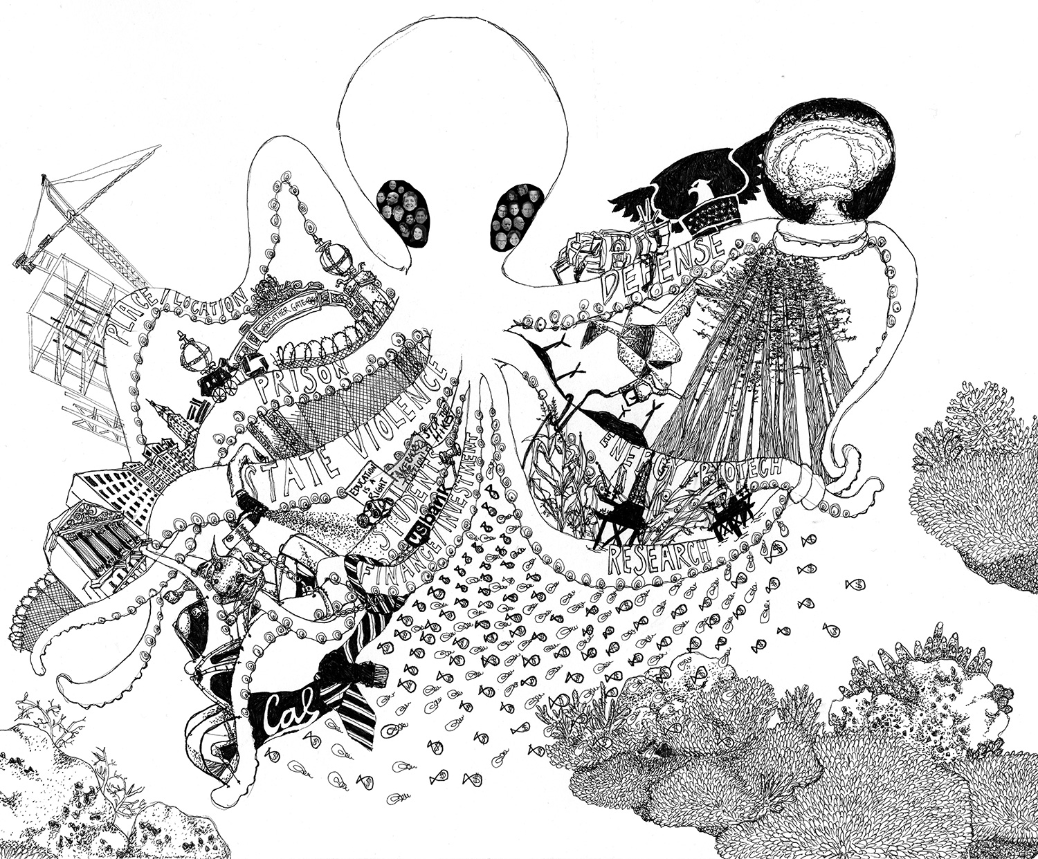 "The Octopus, drawing by Nicci Yin Created as part of the presentation ""The Octopus: Cognitive Capitalism and the University"" with Natalia Cecire and Miriam Neptune at The Scholar & Feminist 2015: Action on Educaiton. - See more at: http://sfonline.barnard.edu/navigating-neoliberalism-in-the-academy-nonprofits-and-beyond/about-this-issue/#imageclose-2467"